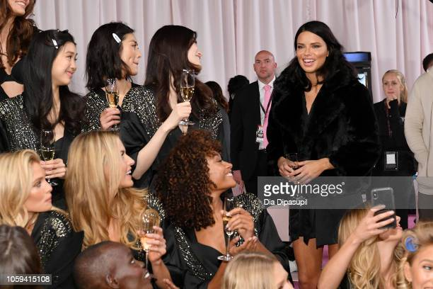 Adriana Lima speaks backstage during the 2018 Victoria's Secret Fashion Show at Pier 94 on November 8 2018 in New York City