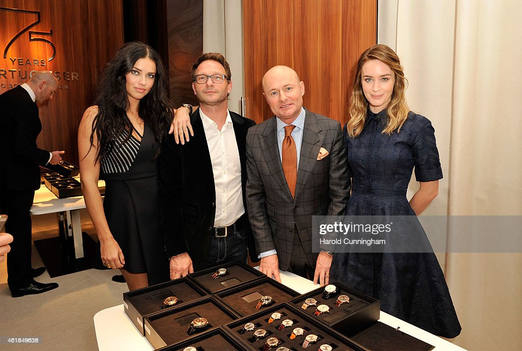 Adriana Lima, Thomas Kretschmann, IWC Schaffhausen CEO George Kern and Emily Blunt visit the IWC booth during the Salon International de la Haute Horlogerie (SIHH) 2015 at the Palexpo on January 20, 2015 in Geneva, Switzerland.