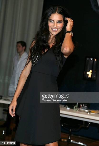 Adriana Lima visits the IWC booth during the Salon International de la Haute Horlogerie 2015 at the Palexpo on January 20, 2015 in Geneva,...