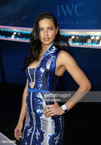 Adriana Lima visits the IWC booth during the Salon International de la Haute Horlogerie 2014 at the Palexpo on January 21, 2014 in Geneva,...