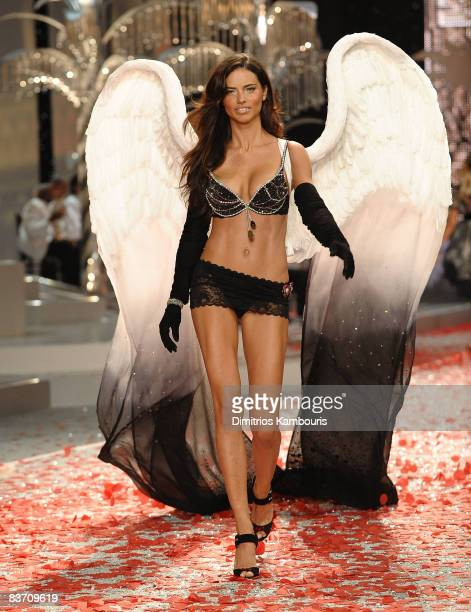 Adriana Lima walks the runaway wearing the 2008 Fantasy Bra at the 2008 Victoria's Secret Fashion Show at the Fontainebleau Hotel on November 15 2008...