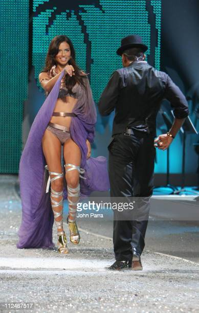 Adriana Lima walks the runway as Usher performs at the Victoria's Secret Fashion Show at Fontainebleau on November 15 2008 in Miami Beach Florida