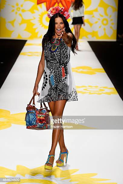 Adriana Lima walks the runway at the Desigual fashion show during MercedesBenz Fashion Week Spring 2015 at The Theatre at Lincoln Center on September...