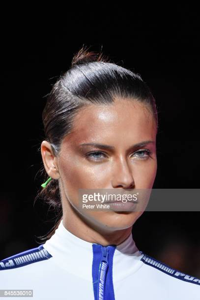 Adriana Lima walks the runway at the Fenty Puma By Rihanna fashion show during New York fashion week at Park Avenue Armory on September 10 2017 in...