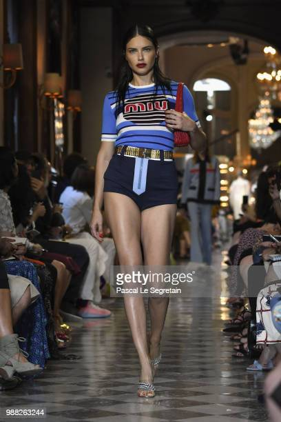 Adriana Lima walks the runway during Miu Miu 2019 Cruise Collection Show at Hotel Regina on June 30 2018 in Paris France