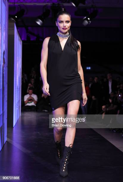 Adriana Lima walks the runway during the Maybelline Show 'Urban Catwalk - Faces of New York' at Vollgutlager on January 18, 2018 in Berlin, Germany.