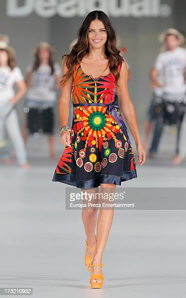 Adriana Lima walks the runway of 'For Everyboby Sex Fun and Love by Desigual's' new collection during the 080 Barcelona Fashion Spring Summer 2014 on...