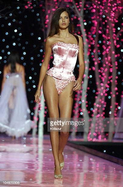 Adriana Lima wearing custom corset and pink embellished Victoria's Secret second skin satin string bikini