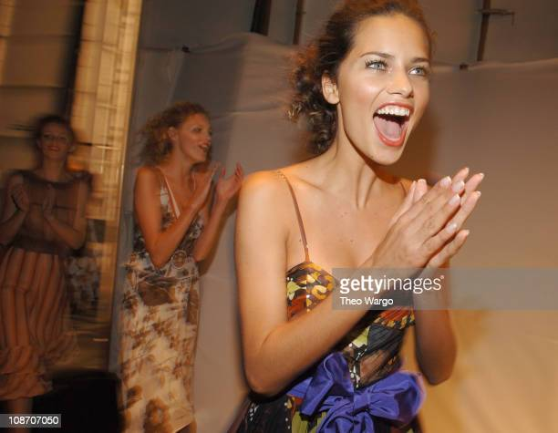 Adriana Lima wearing Luca Luca Spring 2006 during Olympus Fashion Week Spring 2006 Luca Luca Front Row and Backstage at Bryant Park in New York City...