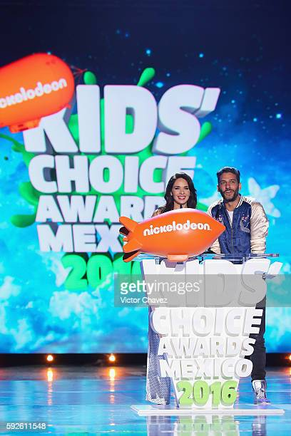 Adriana Louvier and Erick Elias speak on stage during the Nickelodeon Kids' Choice Awards Mexico 2016 at Auditorio Nacional on August 20 2016 in...