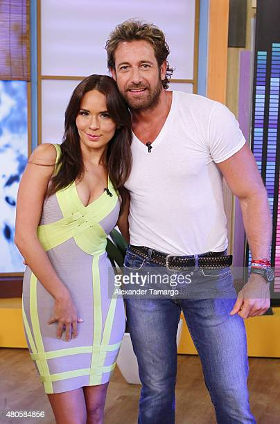 Adriana Louvier and Gabriel Soto are seen on the set of Despierta America at Univision Studios on July 13 2015 in Miami Florida