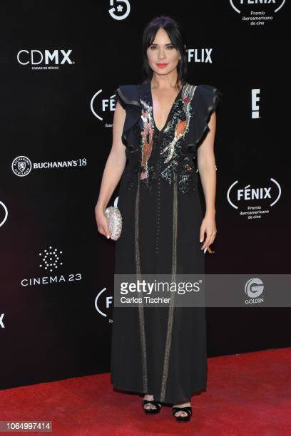 Adriana Louvier poses for photos during the red carpet of Iberoamerican Fenix Film Awards 2018 at Teatro de la Ciudad Esperanza Iris on November 7...