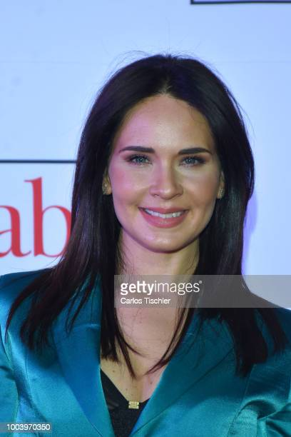 Adriana Louvier poses for photos during the red carpet of the movie 'Mas Sabe El Diablo por Viejo' at Cinemex Antara Polanco on July 19 2018 in...