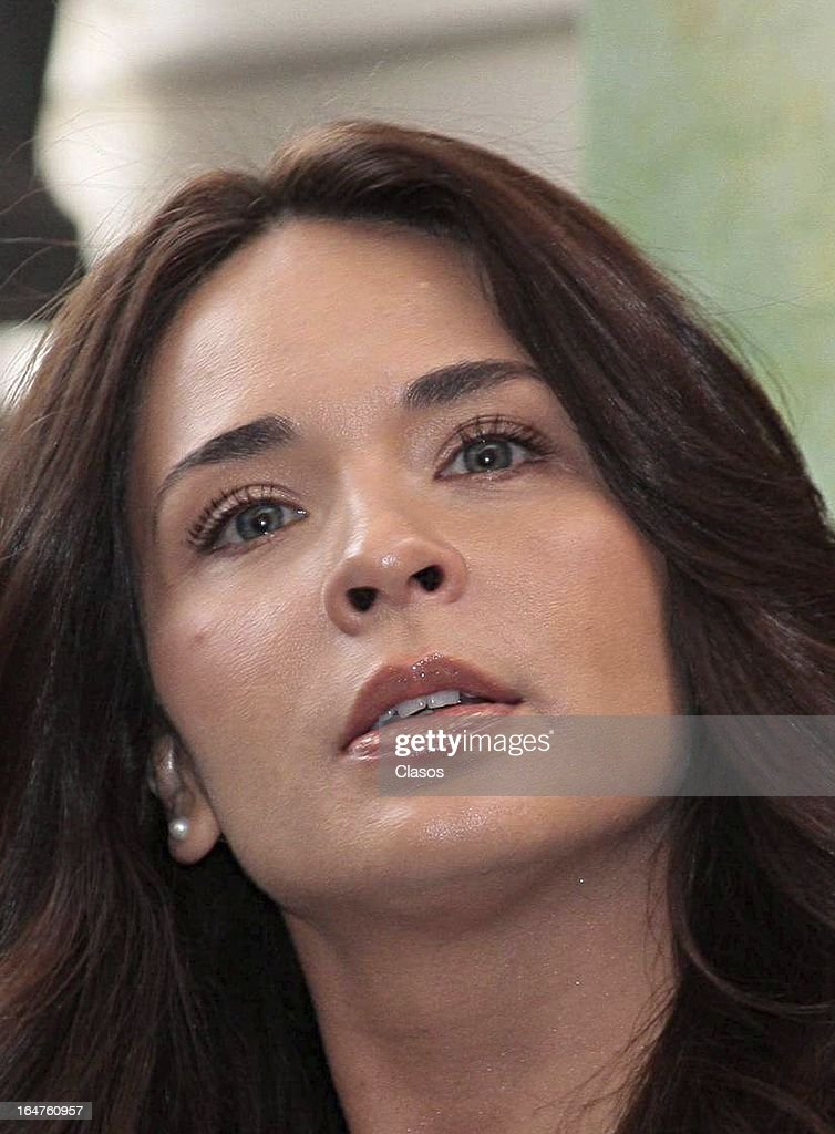 Adriana Louviere of 'Los Arboles Mueren de Pie' looks on during the press conference before the start of the shooting of the film on March 27, 2013, in Mexico City, Mexico.