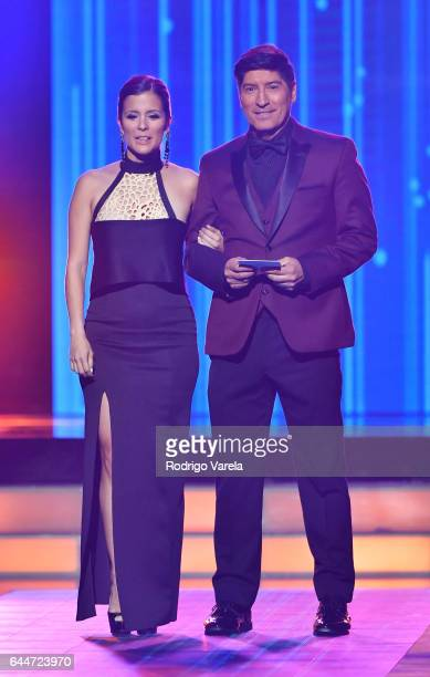 Adriana Monsalve and Ivan Zamorano onstage during Univision's 29th Edition of Premio Lo Nuestro A La Musica Latina at the American Airlines Arena on...