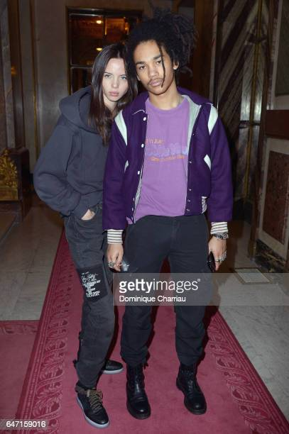 Adriana Mora and Luka Sabbat attend the Balmain show as part of the Paris Fashion Week Womenswear Fall/Winter 2017/2018 on March 2 2017 in Paris...