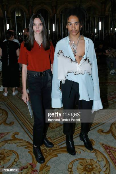 Adriana Morg and Luka Sabbat attend the Haider Ackermann Menswear Spring/Summer 2018 show as part of Paris Fashion Week on June 21 2017 in Paris...