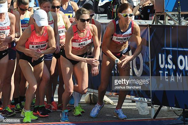 Adriana Nelson Sara Hall and Kara Goucher at the start of the US Olympic Team Trials Women's Marathon on February 13 2016 in Los Angeles California