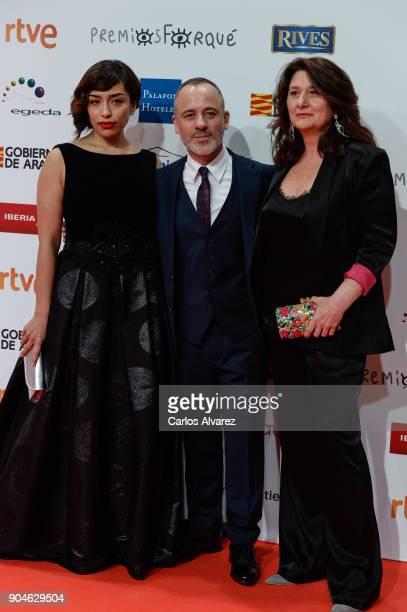 Adriana Paz Javier Gutierrez and Adelfa Calvo attend the 23rd edition of Jose Maria Forque Awards at Palacio de Congresos on January 13 2018 in...