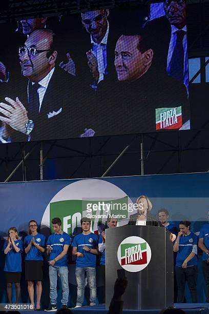 Adriana Poli Bortone a candidate for the next regional elections in Puglia Region speaks during a meeting May 15 2015 in Lecce Italy