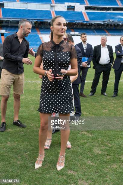 Adriana Pozueco attends the presentation of Theo Hernandez of Real Madrid his official presentation at Santiago Bernabeu Stadium on July 10 2017 in...