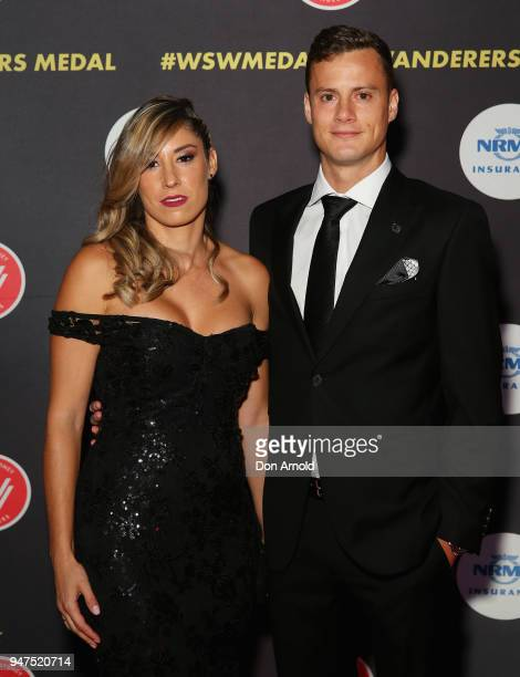 Adriana Riera and Oriol Riera attend the Wanderers Medal 2018 on April 17 2018 in Sydney Australia