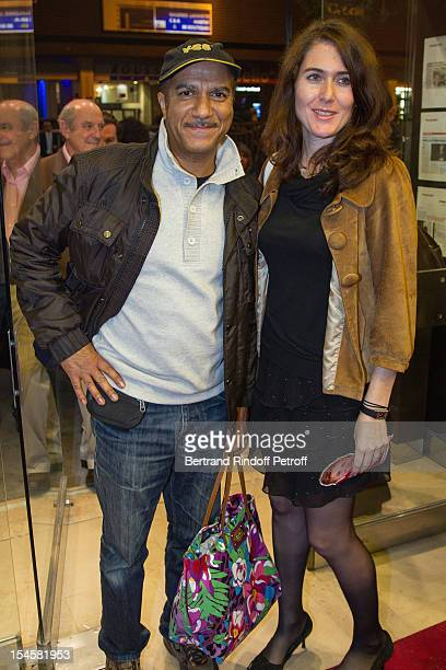 Adriana Santini Legitimus and her husband humorist Pascal Legitimus at Theatre du Grand Point-Virgule on October 22, 2012 in Paris, France.