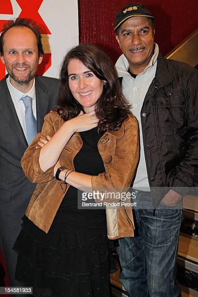 Adriana Santini Legitimus her husband humorist Pascal Legitimus and producer Jean-Marc Dumontet at Theatre du Grand Point-Virgule on October 22, 2012...