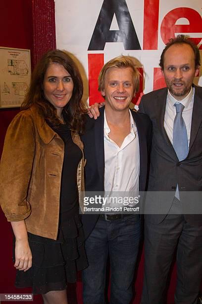 Adriana Santini Legitimus, humorist Alex Lutz and producer Jean-Marc Dumontet at Theatre du Grand Point-Virgule on October 22, 2012 in Paris, France.