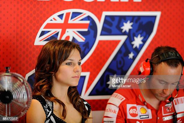Adriana Stoner , wife of Casey Stoner, of Australia and Ducati Malboro Team looks on in the box during qualifying practice at the Montmelo Circuit on...