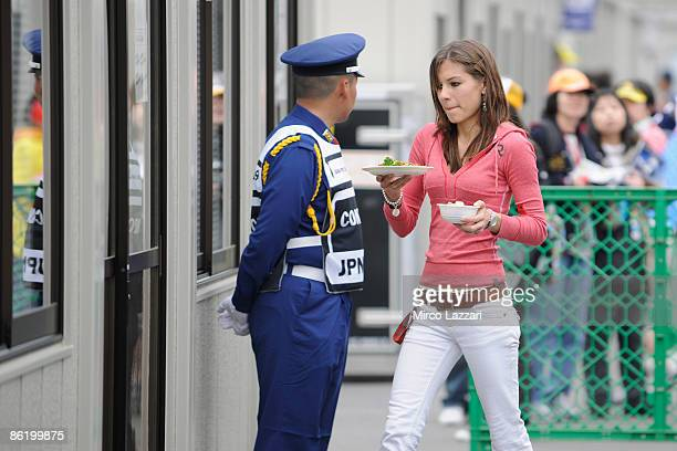 Adriana Stoner wife of Casey Stoner of Australian and Ducati Malboro Team brings the lunch at Casey during the MotoGP of Japan practice day at Twin...