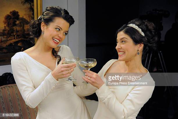 Adriana Torrebejano and Aida de la Cruz are seen during 'El Secreto de Puente Viejo' set filming on January 14 2016 in Madrid Spain