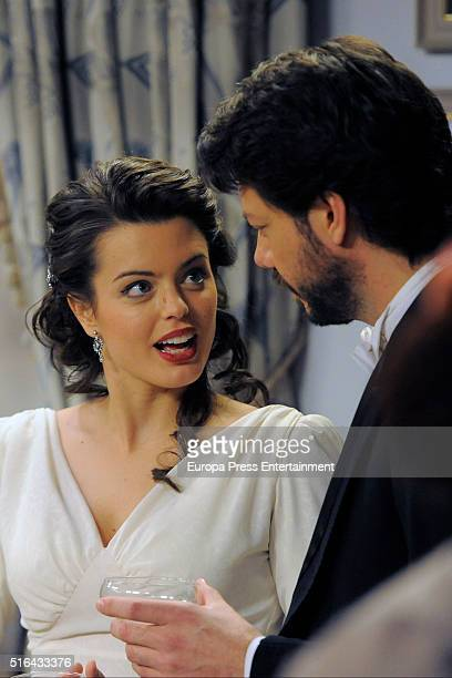 Adriana Torrebejano and Alvaro Morte are seen during 'El Secreto de Puente Viejo' set filming on January 14 2016 in Madrid Spain