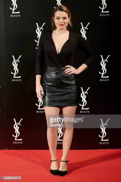 Adriana Torrebejano attends the YVES SAINT LAURENT THE SLIM Rouge PurCouture party photocall at Santona Palace in Madrid on October 6 2018