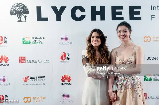 Adriana Ugarte and Qi Xi attend during Lychee Film Festival Inauguration in Madrid on September 14 2018 in Madrid Spain
