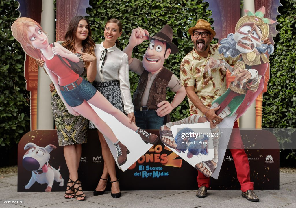 Adriana Ugarte, Michelle Jenner and Jose Corbacho attend the 'Tadeo Jones 2. El secreto del Rey Midas' photocall at the Ritz hotel on August 22, 2017 in Madrid, Spain.