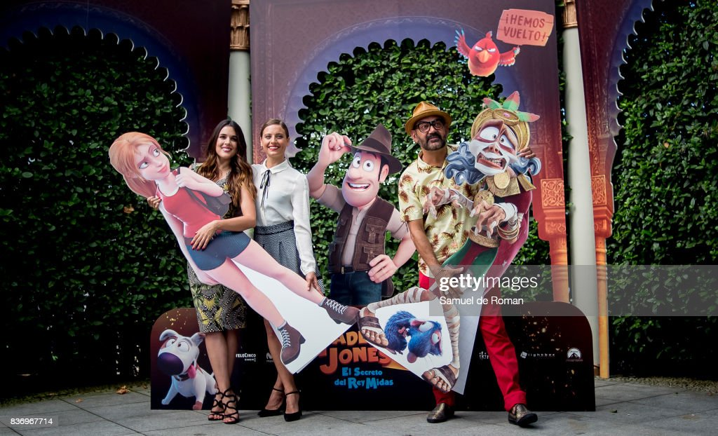 Adriana Ugarte, Michelle Jenner and Jose Corbacho during 'Tadeo Jones 2. El Secreto Del Rey Midas' Madrid Photocall on August 22, 2017 in Madrid, Spain.