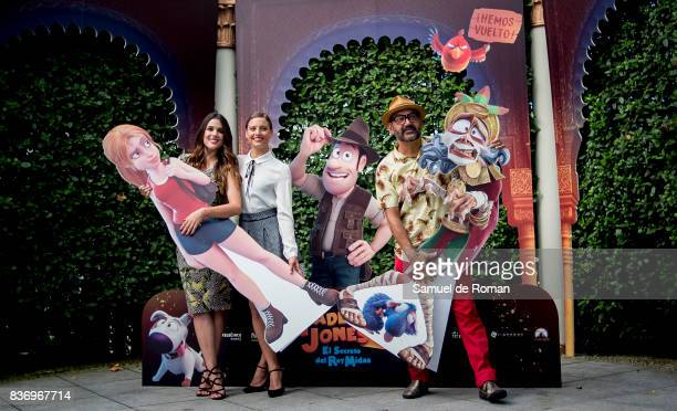 Adriana Ugarte Michelle Jenner and Jose Corbacho during 'Tadeo Jones 2 El Secreto Del Rey Midas' Madrid Photocall on August 22 2017 in Madrid Spain