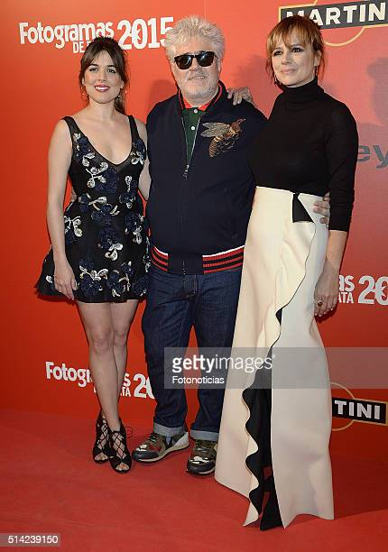 Adriana Ugarte Pedro Almodovar and Emma Suarez attend the Fotogramas Awards at Joy Eslava Club on March 7 2016 in Madrid Spain