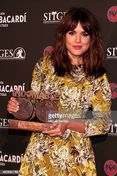 Adriana Ugarte poses with her 'Bacardi Sitges' Awards 2015 held at the Casa Bacardi during the '48th Sitges Film Festival 2015' on October 14 2015 in...