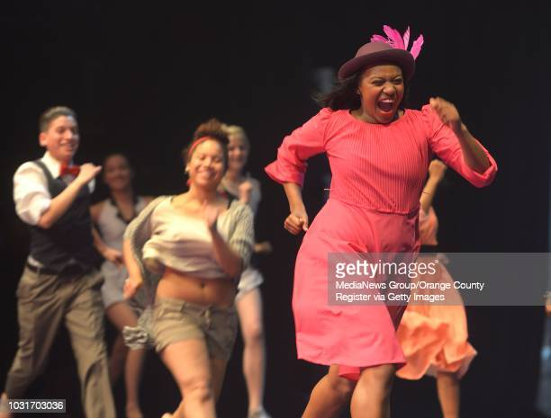 """Adriana Vieuz, left, of Renaissance High School, during a dress rehearsal for """"SpectrumÓ, Long Beach Unified's annual all district dance concert at..."""