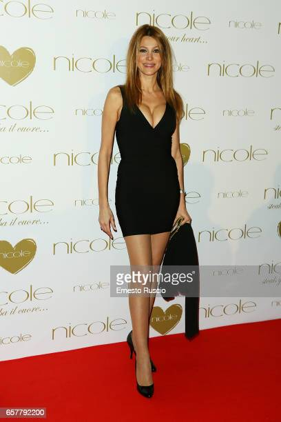 Adriana Volpe attends the red carpet of the Nicole fashion show at Palazzo Dei Congressi on March 25, 2017 in Rome, Italy.
