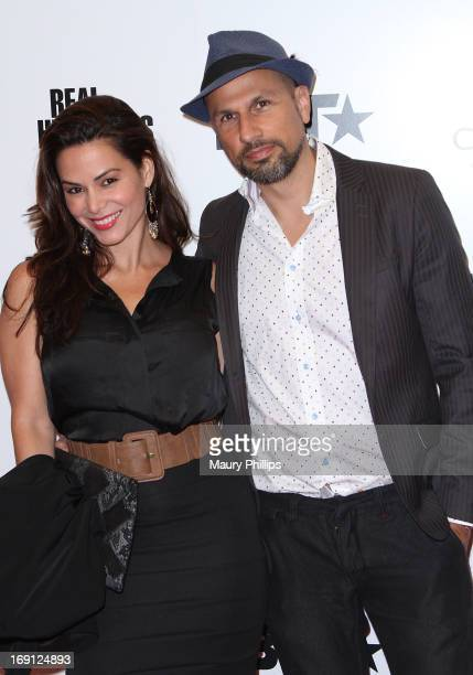 Adriana Yanez and guest arrive at BET's 'Real Husbands of Hollywood' Wrap Party at SupperClub Los Angeles on May 19 2013 in Los Angeles California