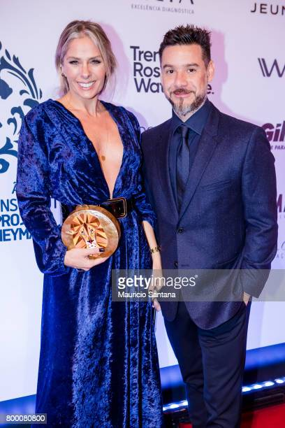 Adriane Galisteu and Alexandre Iodice poses before a benefit auction at Hotel Unique on June 22 2017 in Sao Paulo Brazil