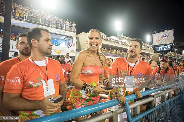 Adriane Galisteu attends to the Rio Carnival in Sambodromo on February 8 2016 in Rio de Janeiro Brazil Despite the Zika virus epidemic thousands of...