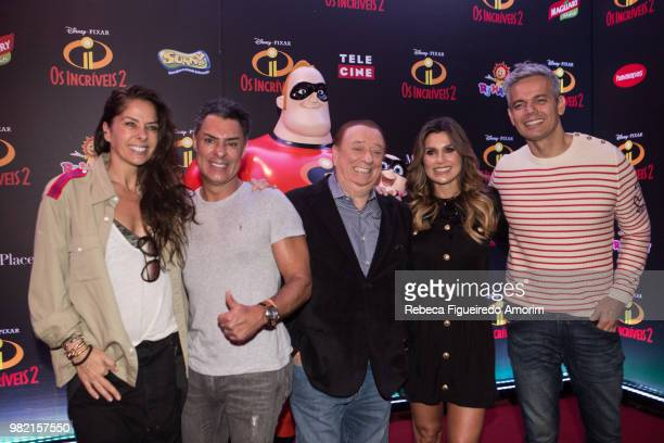 Adriane Galisteu Miguel Vives Raul Gil Flavia Alessandra and Otaviano Costa attend the Sao Paulo Premiere of Incredibles 2 at Shopping Market Place...