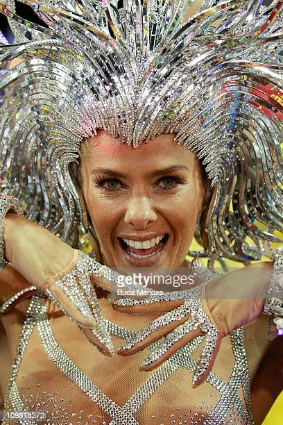 Adriane Galisteu queen of the drums of Unidos da Tijuca dances during the samba school's parade at Rio de Janeiro's carnival on on March 06 2011 in...