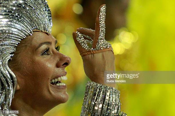 Adriane Galisteu queen of the drums of Unidos da Tijuca dances during the samba school's champions parade at Marques de Sapucai on March 12 2011 in...