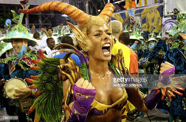 Adriane Galisteu Queen of the Drums of Unidos da Tijuca samba school performs during Rio de Janiero's carnival at the Sambodrome on February 4 2008...