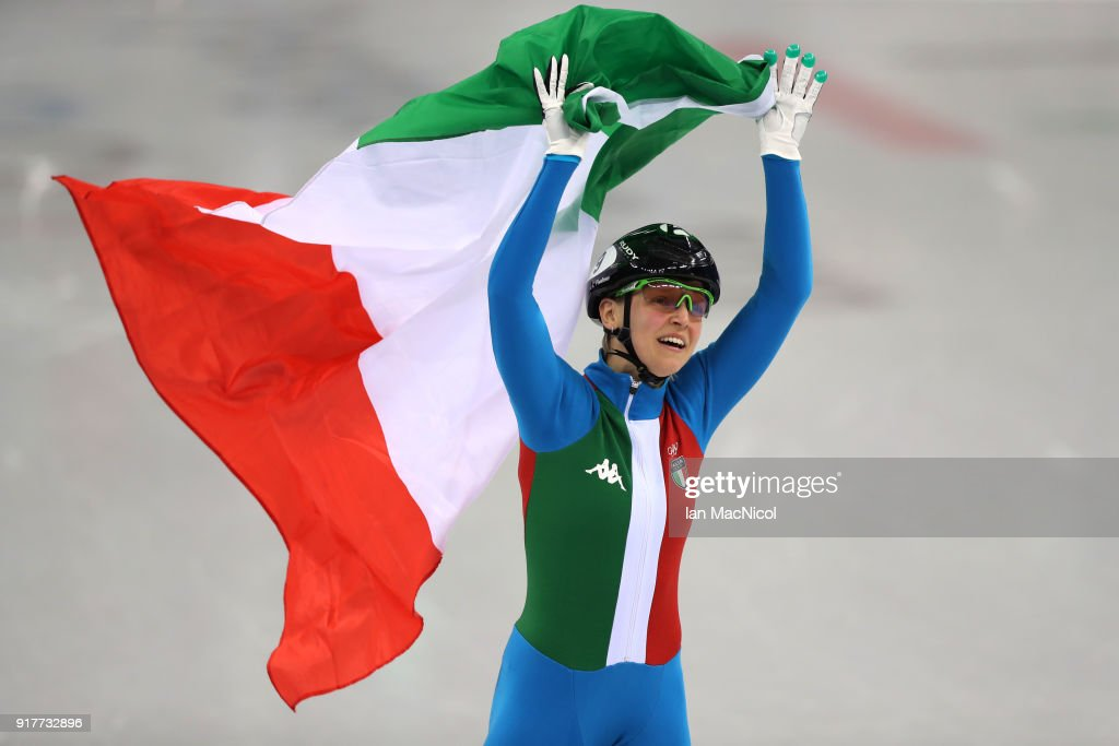 Adrianna Fontana of Italy celebrates after winning the Short Track Speed Skating Women's 500m final on day four of the PyeongChang 2018 Winter Olympic Games at Gangneung Ice Arena on February 13, 2018 in Gangneung, South Korea.